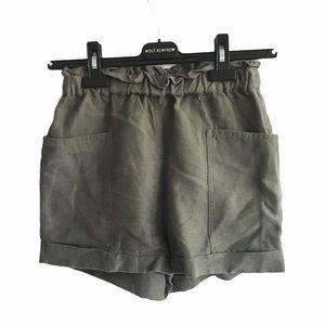 ARITZIA High Waisted Linen Short Pockets Green XXS
